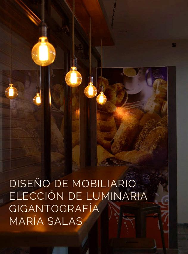 Diseño de mobiliario y eleccion de luminaria, panadería Primavera por María Salas