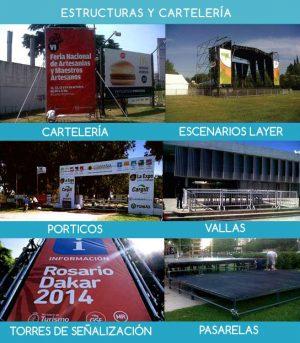 Alquiler e instalación de infraestructura para eventos,, carteles, escenarios, pórticos, vallas, torres, señalización, pasarelas , servicio de María Salas