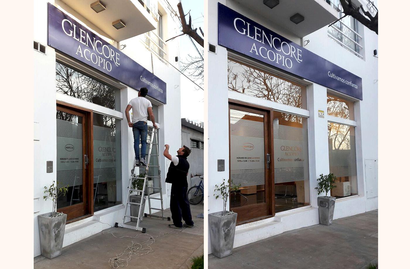 carte y rotulación para Glencore Acopio, imagen exterior para empresa por María Salas