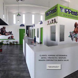 Cliente Yoppens Veterinaria. Antes / Proyecto / Después. Imagen corporativa por María Salas