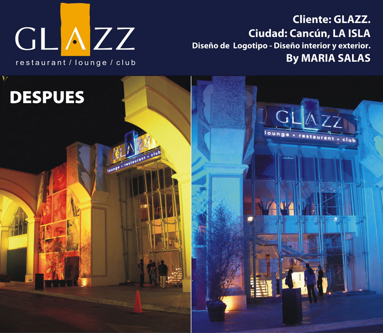 Creación imagen disco-bar Glazz, Cancún, la isla.