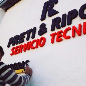 Letra corpórea para Preti & Ripc. Servicio técnico by María Salas