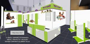 Fotomontaje. Muestra 3D. Cliente Yoppens Veterinaria. Antes / Proyecto / Después. Imagen corporativa por María Salas
