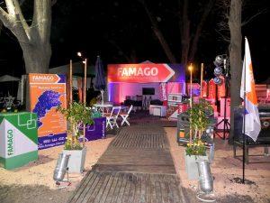 Diseño llave en mano de stands Famago equipamientos para ferias y expos por María Salas. Alquiler de carpas y escenarios