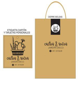 Etiqueta de cartón, tarjetas personales, bolsas, imagen corporativa para Catus & Sucus, Jardín & Deco por María Salas Diseño & Deco